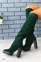 Зимние натуральные замшевые сапоги ботфорты на каблуке