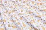 """Ткань Хб с глиттерным рисунком """"Золотистые ёлочки и снежинки"""" на белом №1491, фото 7"""