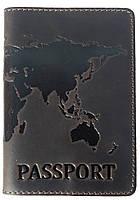 """Кожаная обложка на паспорт """"World"""" коричневая"""