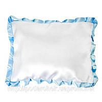 Подушка сублимационная квадратная атласная с цветным рюшем