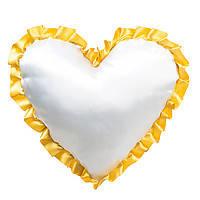 Подушка сублимационная Сердце атласная с цветным рюшем