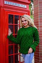 Черный Легендарный свитер с вязкой косичкой 42-48, фото 3
