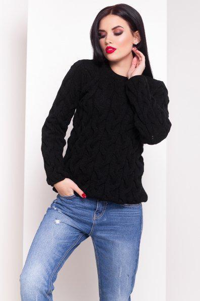 Черный Легендарный свитер с вязкой косичкой 42-48
