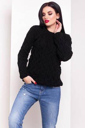 Черный Легендарный свитер с вязкой косичкой 42-48, фото 2
