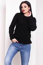 Синий  свитер с круглым вырезом лало с вязкой косичкой 42-48, фото 2
