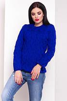 Синий  свитер с круглым вырезом лало с вязкой косичкой 42-48, фото 3