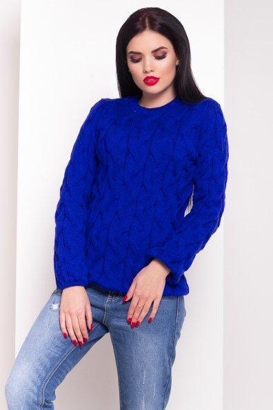 Вязаный теплый свитер круглый вырез косичка 42-48
