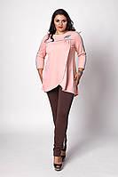 Оригинальный женский брючный костюм больших размеров абрикос-баклажан