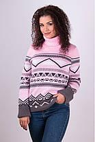 Теплый свитер с узором под горло размер 42-50, фото 3