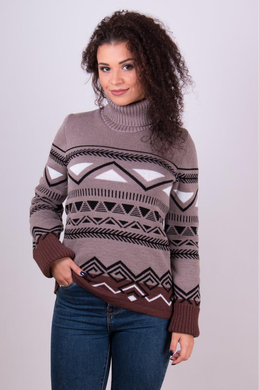 Теплый свитер с узором под горло размер 42-50