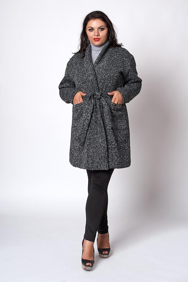 Теплый трикотажный кардиган серого цвета