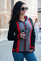 Модная теплая кофта с капюшоном  на замке с буквами размер 42-50, фото 3