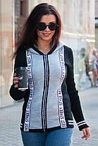 Вязаная кофта пиджак на молнии с капюшоном размер 42-50, фото 2