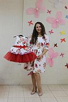 """Нарядные платья на маму и доченьку в стиле Фемели лук """"Красная розочка на белом фоне с рукавами (стандарт длина)"""