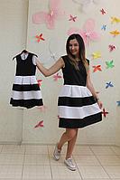 """Повседневно - нарядное платье на маму и доченьку (в стиле Фемели Лук) """"Полосатики"""" черно - белое"""