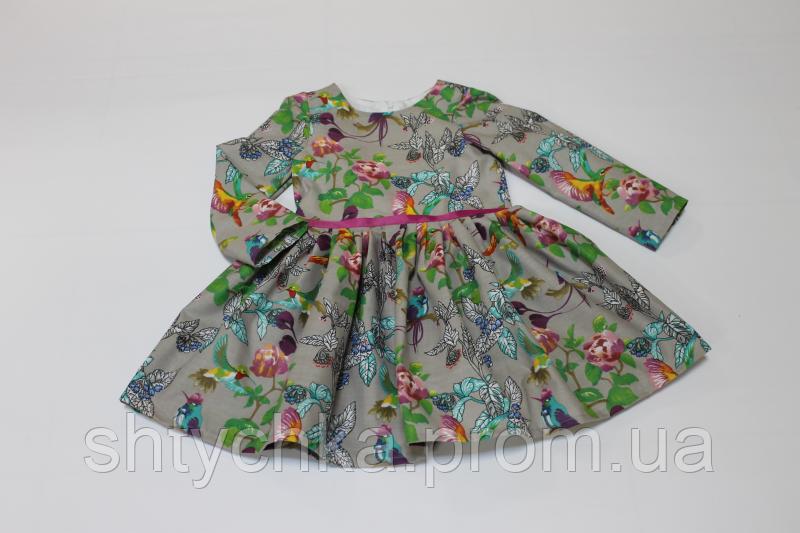 """Повседневно - нарядное платье на девочку """"Птички"""" на сером фоне с рукавами"""