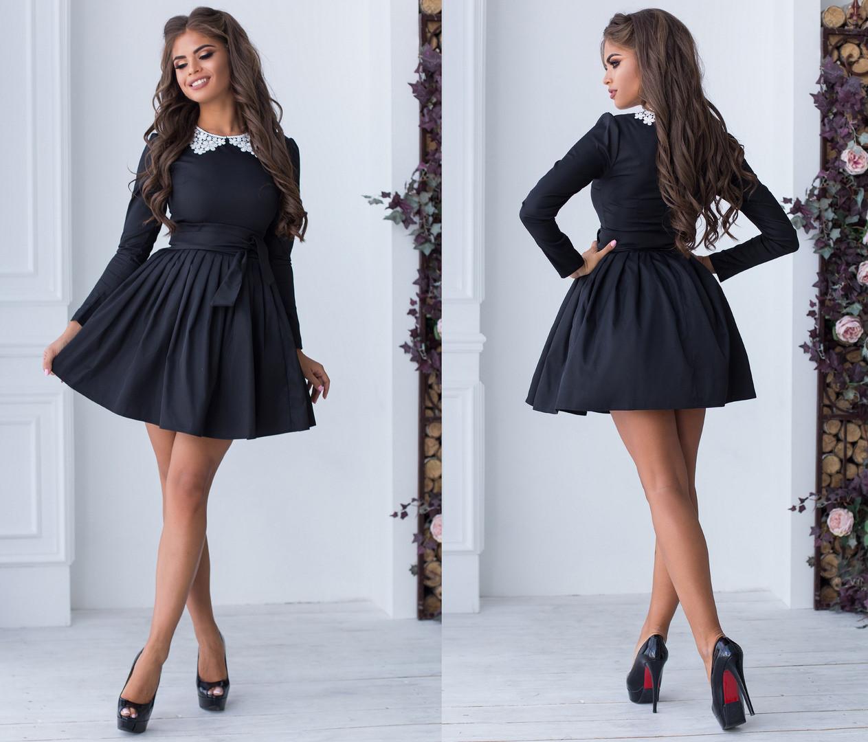 Короткое женское платье с фатиновым бодъюбником и с кружевным воротником.Размеры : 42,44,46  +Цвета