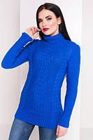 Синий электрик свитер под горло вязаный размер 44-48