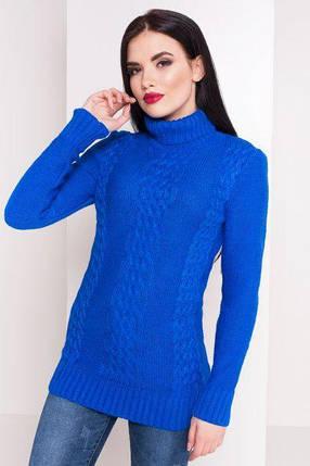 Синий электрик свитер под горло вязаный размер 44-48, фото 2