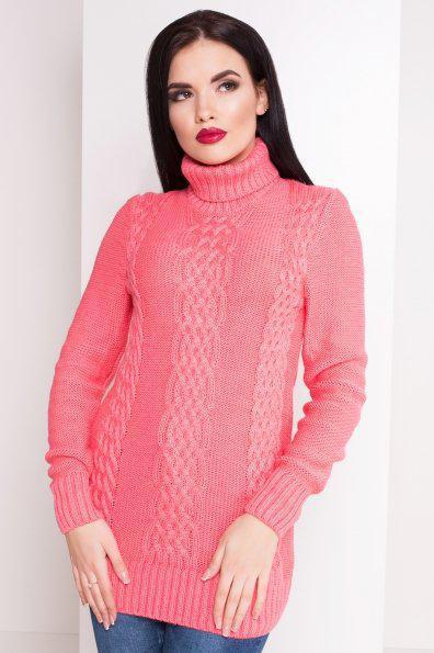Розовый женский свитер под горло вязаный размер 44-48