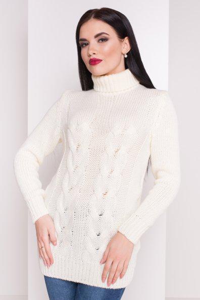 Белый Вязаный женский свитер под горло с длинным рукавом бирюзовый 42-48