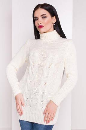 Белый Вязаный женский свитер под горло с длинным рукавом бирюзовый 42-48, фото 2