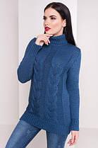 Белый Вязаный женский свитер под горло с длинным рукавом бирюзовый 42-48, фото 3
