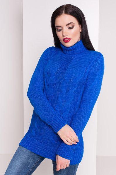 Электрик Вязаный женский свитер под горло с длинным рукавом бирюзовый 42-48