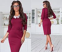 Женское трикотажное облегающее платье-миди с кружевным воротником. Размеры : 42, 44, 46.  +Цвета, фото 1