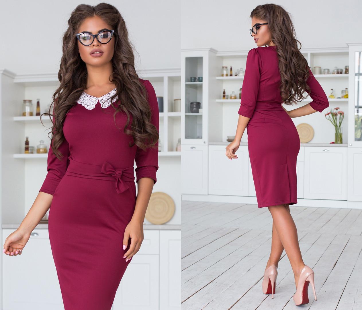 Женское трикотажное облегающее платье-миди с кружевным воротником. Размеры : 42, 44, 46.  +Цвета