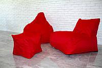 Кресло мешок груша пуф (набор) красного цвета