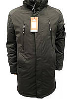 Куртка мужская зимняя Malidinu удлиненная модель 18880 оливкового цвета на синтепоне фирмы Малидину