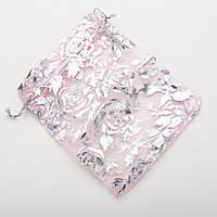 Мешочек из органзы розовый с серебряными розами 12х10 см