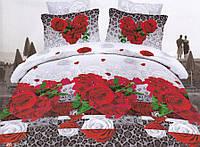 """Комплект постельного белья двуспальный евро, 3D """"Розы на принте"""""""