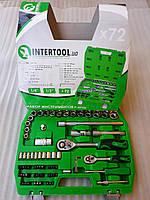 """Набор накидных головок и комплектующих на 72 единицы. """"InterTool series"""". (4-27мм) 1/4"""", 1/2"""" (72T)."""