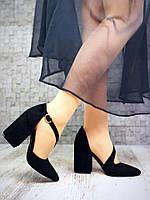 Женские туфли на толстом каблуке замша NK4135