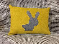 Подушка детская, Декоративная подушка, Подушка с аппликацией 36х50 см, Желтая диванная подушка, автомобильная