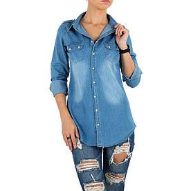 Женская джинсовая рубашка длинная Milas (Европа) Голубой