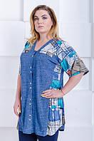 Летняя женская рубашка-туника Юлия джинс-бирюза (52-66), фото 1