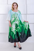 Красивое платье батал Галина роза зеленый (58-68), фото 1