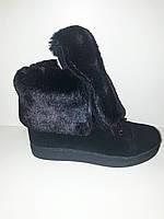 Ботинок-трансформер, ботинки зимние женские размер 36 37 38 39 40 41, натуральная замша,  цвет черный