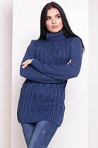 Пудровый свитер под горло свитер женский длинный 42-48, фото 3
