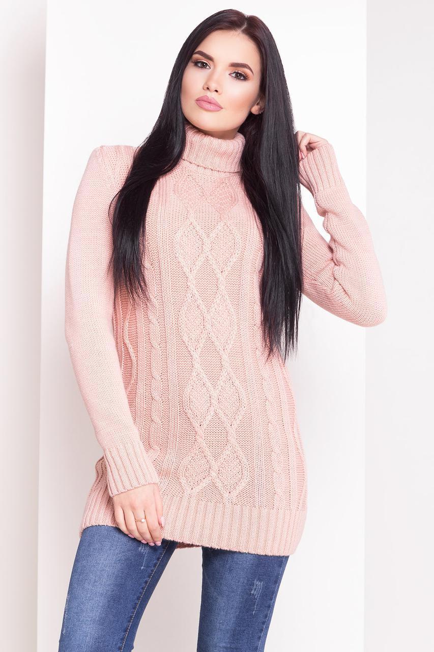 Пудровый свитер под горло свитер женский длинный 42-48