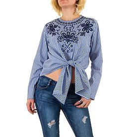Женская блузка в полоску с вышивкой на зявязках Jcl Paris (Франция) Голубой