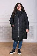 Пальто из стеганой ткани Мейли черное(54-60), фото 1