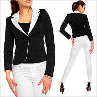 Черно-белый пиджак женский, офисная одежда недорого