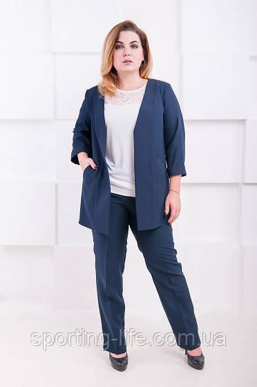 c3b2aac2caa4 Классический женский костюм размер плюс жакет+брюки Джуди темно-синий  (52-60)