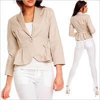 Бежевый женский пиджак на одной пуговице, одежда для работы