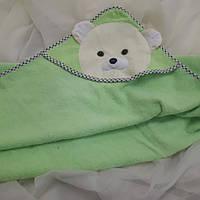 Полотенце салатовое детское с уголком с пандой, фото 1
