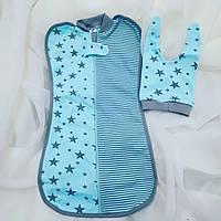 "Пеленка-кокон ""Звездопад мята"" + шапочка для новорожденных пеленки, фото 1"